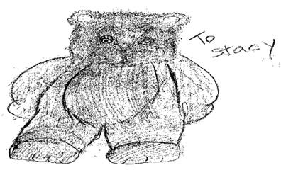 A really well done drawing of a Teddy Bear